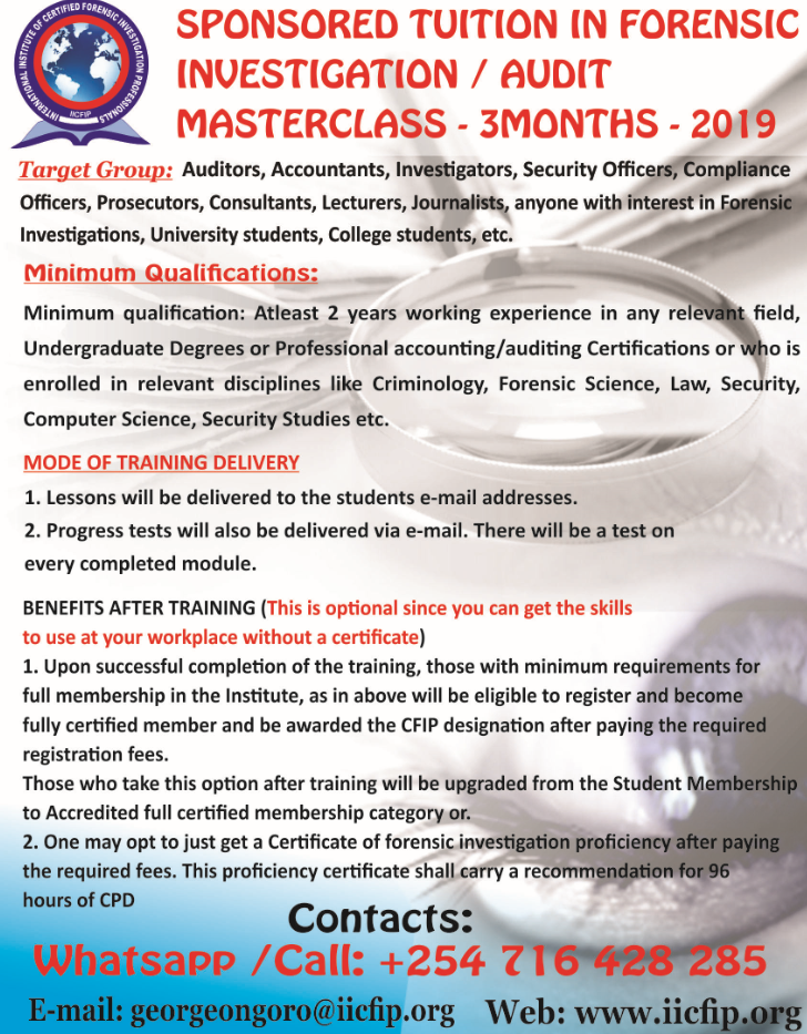 SPONSORED TUITION ON FORENSIC INVESTIGATION /AUDIT MASTERCLASS FOR 3 MONTHS - 2019