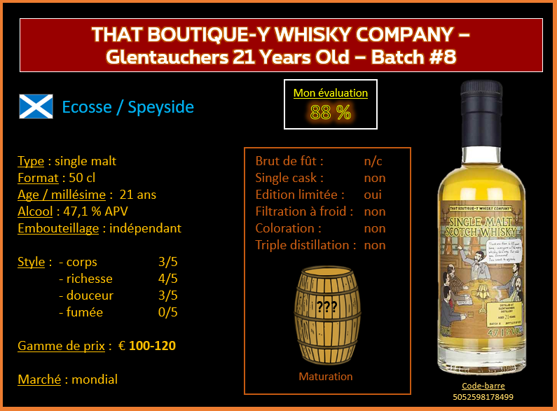 Review #831 : That Boutique-Y Whisky Company – Glentauchers 21 Years Old – Batch #8