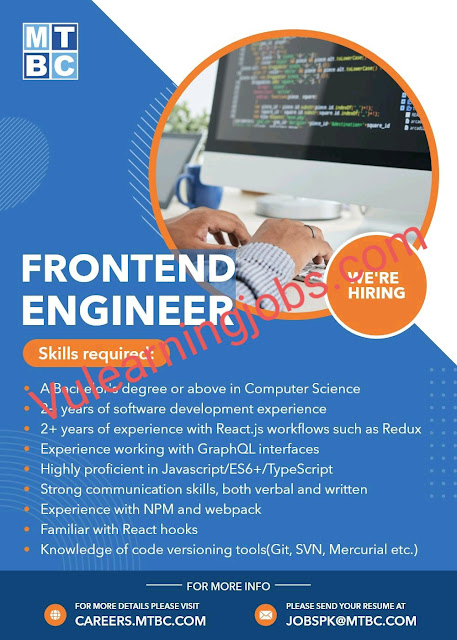 MTBC Jobs 2020 In Pakistan For Frontend Engineer Latest