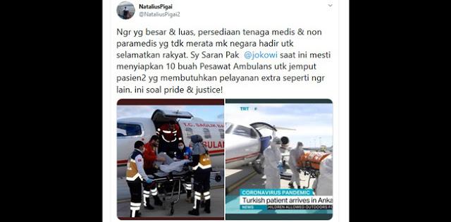 Pigai Minta Jokowi Siapkan 10 Pesawat Ambulans, Netizen: Jangankan Pesawat, Sembako Saja Belum Merata