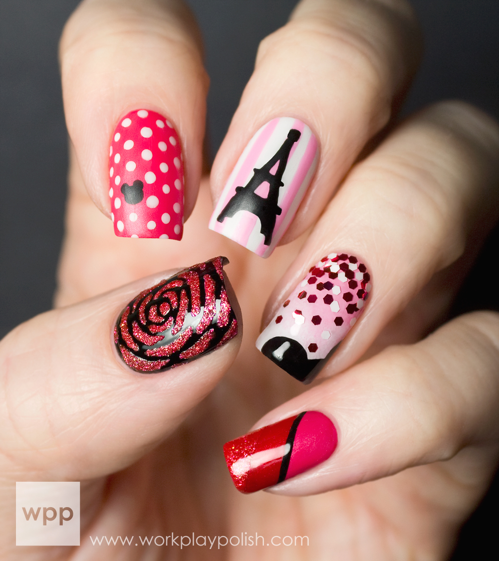 Couture de Minnie Nail Art (workplaypolish.com)