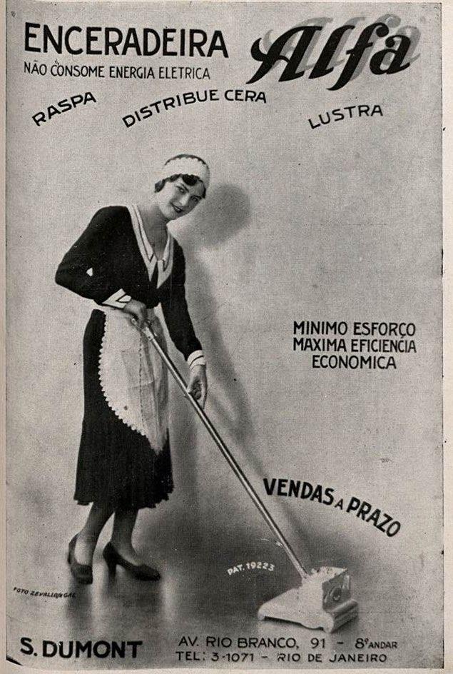 Propaganda antiga da Enceradeira Alfa, apresentada em 1931