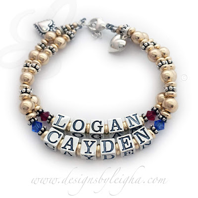 Logan and Cayden Gold Mother's Bracelet with Birthstones and Heart Charms