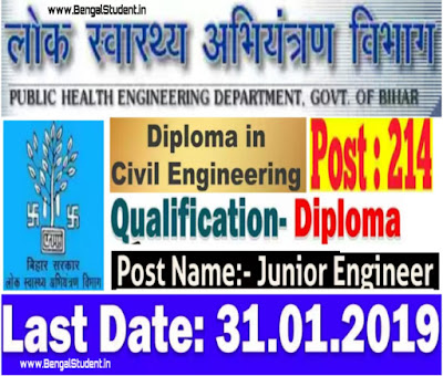 PHED Bihar Junior Engineer Recruitment 2019 - Apply Now For 214 Posts
