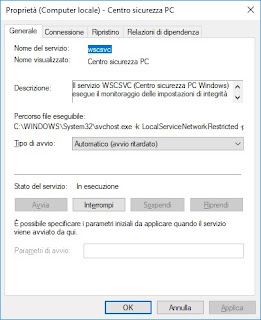 Gestione servizi Windows