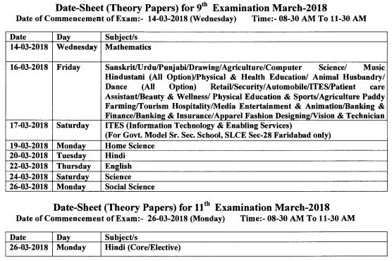image : Revised 9th - 11th Date Sheet March 2018 @ Haryana-Education-News.Com