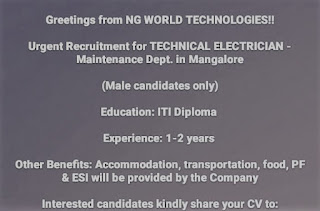 ITI and Diploma Urgent Recruitment Technical Electrician Maintenance Dept. In Ng World Technologies Mangalore