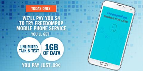 Image: Swagbucks, the online rewards site that puts cash back in your wallet, has an AMAZING offer through FreedomPop where you get 400 SB (which is the equivalent of $4 in gift cards) for buying a SIM card for just $0.99!