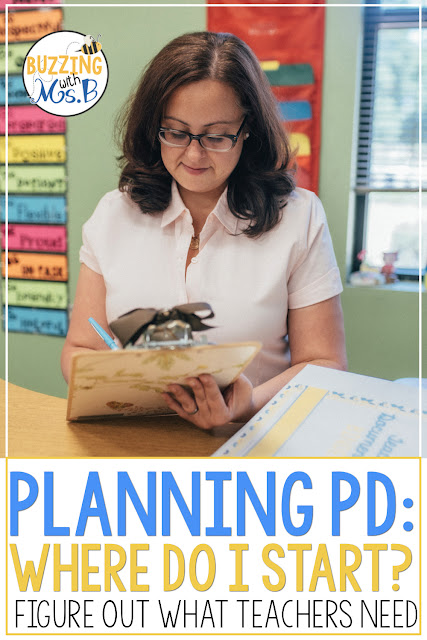 Planning professional development for teachers can be pretty overwhelming, especially if you don't even know what PD they need! This post gives you two easy-to-implement ideas that will help you figure out what topics your teachers want and need to learn about. Get started right away - there's even a free download!
