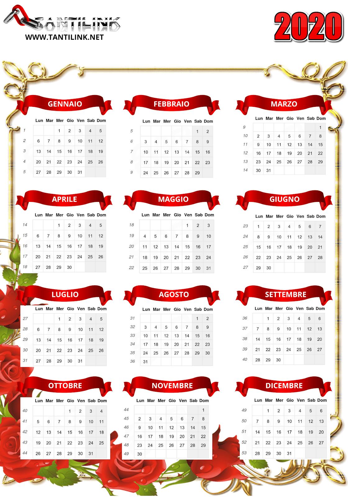 calendario 2020, calendario da stampare, calendario gratis