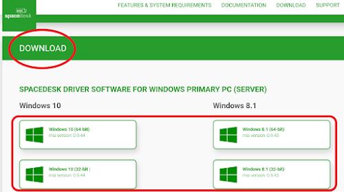spacedeskをサーバー側PCにダウンロードする