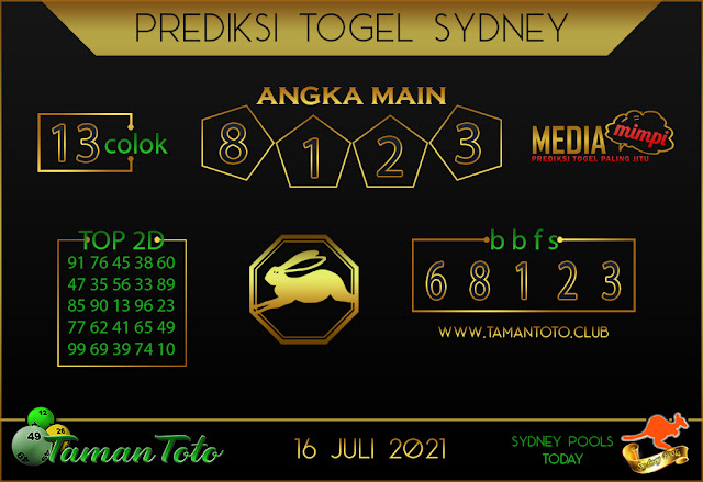 Prediksi Togel SYDNEY TAMAN TOTO 16 JULI 2021
