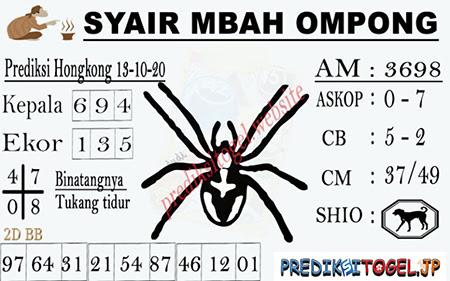 Syair Mbah Ompong HK Selasa 13 Oktober 2020