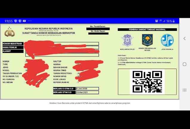 E-STNK pengesahan Samsat Online Nasional