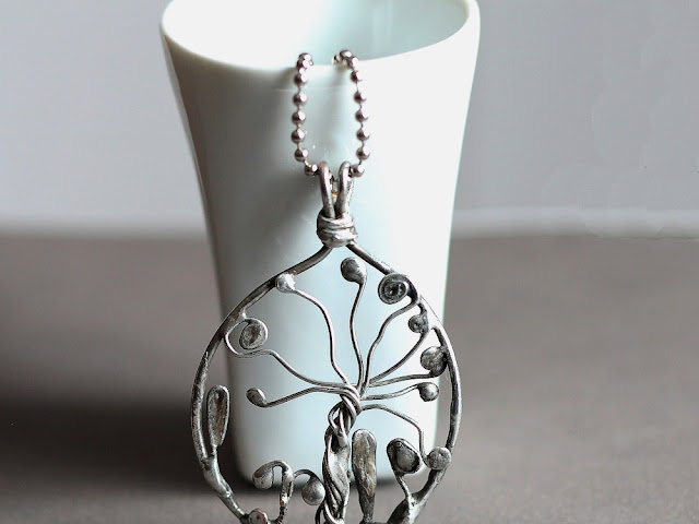 Abstract Tree Garden Pendant - Tiffany Technique