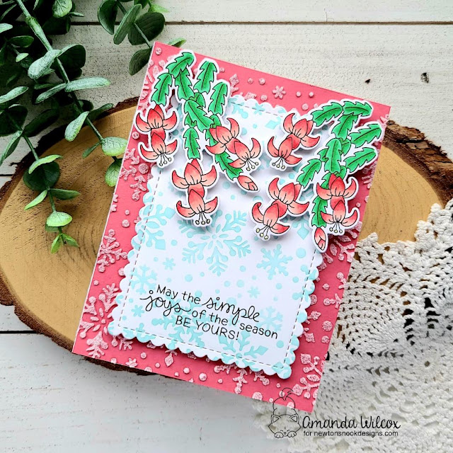 Christmas Cactus Card by Amanda Wilcox | Christmas Cactus Stamp Set, Snowfall Stencil and Framework Die Set by Newton's Nook Designs