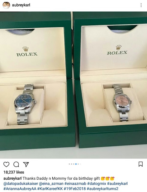 Photos: 2-year-old twins get US$10,200 Rolex watches from their parents as birthday gifts
