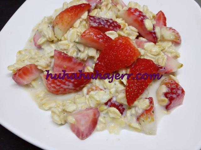Overnight Oats Strawberry  Yang Sedap Untuk Menu Diet  Aku...
