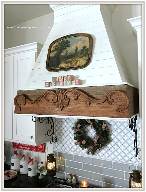 Farmhouse Christmas Kitchen-Custom-Vent Hood-Iron Brackets-Vintage-French Country-From My Front Porch To Yours