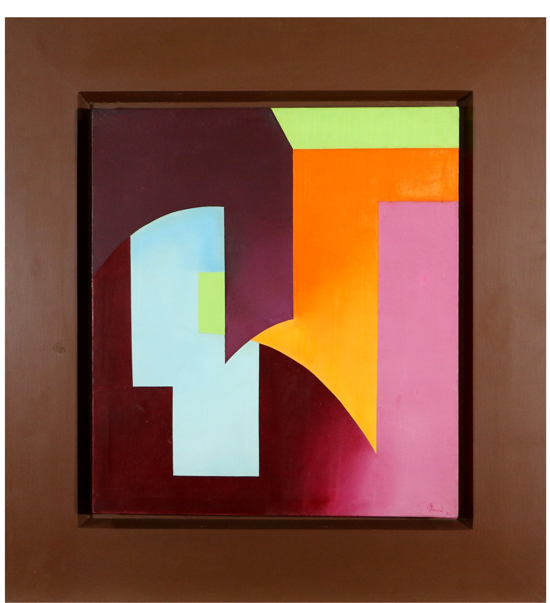 Painting Shocking Pink, Orange, Maroon (1974) by Lilian Hwang
