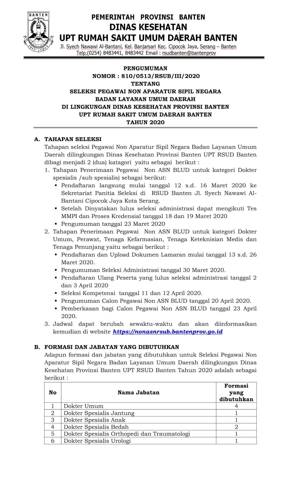 Rekrutmen Pegawai Non PNS BLUD Dinas Kesehatan UPT RSUD Banten Bulan Maret 2020