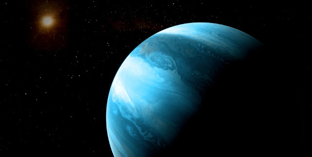 Artist's impression of a jupiter-like planet with a blueish colour orbiting a cool red dwarf. © CARMENES/RenderArea/J. Bollaín/C. Gallego
