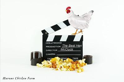 Chicken, popcorn and a movie board