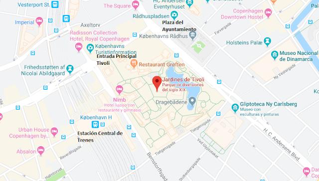 localización Parque Tivoli en Copenhague