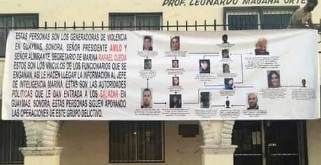 La Guerra que se viene El Cártel de Caborca de Caro Quintero deja Narcomantas con fotografias de Los Salazar del Cártel de Sinaloa