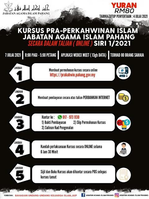 Pahang Adakan Kursus Pra Perkahwinan Secara Online Pada 7 Julai Ini. Daftar Sekarang!