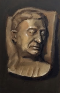 Oil painting of a plaster cast death mast of a middle-aged man.
