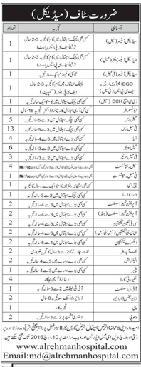 MO, WMO, Nurses and other Staff Jobs in Al Rehman Hospital Lahore