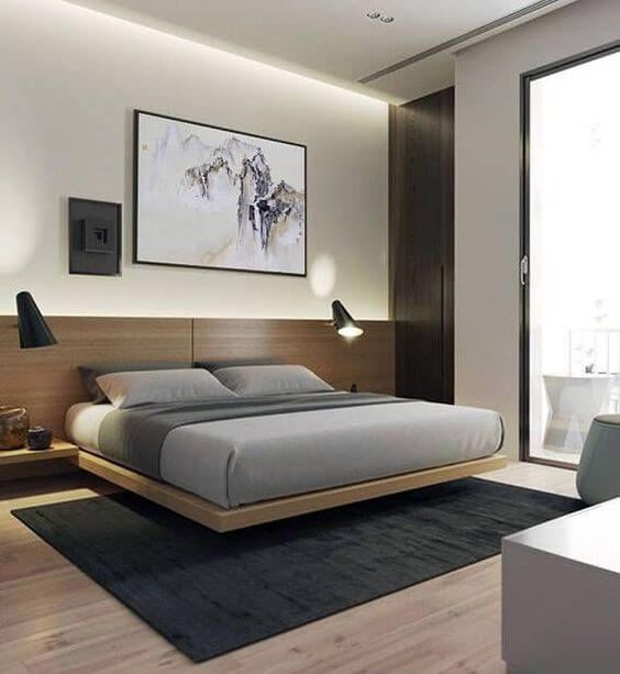 Floating double bed