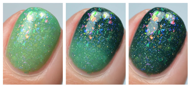 teal tri-thermal nail polish