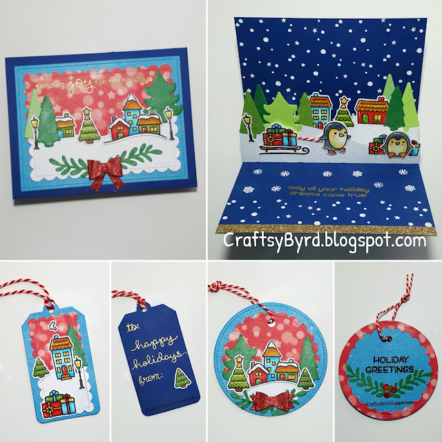 Lawn Fawn Penguins in Christmas Village Pop-up Card by Maria Byrd. CraftsyByrd.blogspot.com