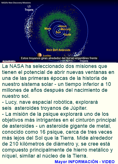 La NASA Selecciona dos misiones para explorar el sistema solar primitivo