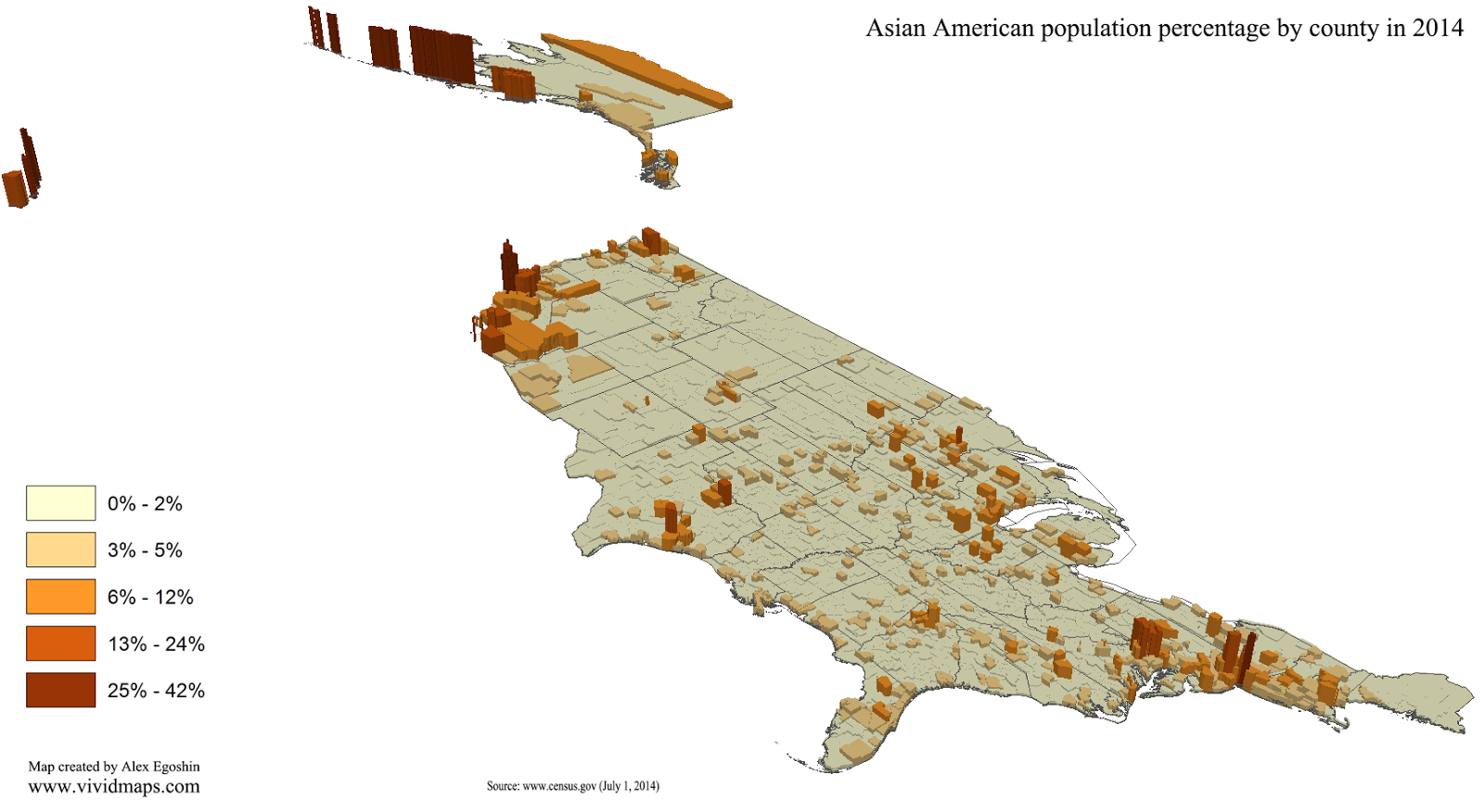 Asian American population percentage by county