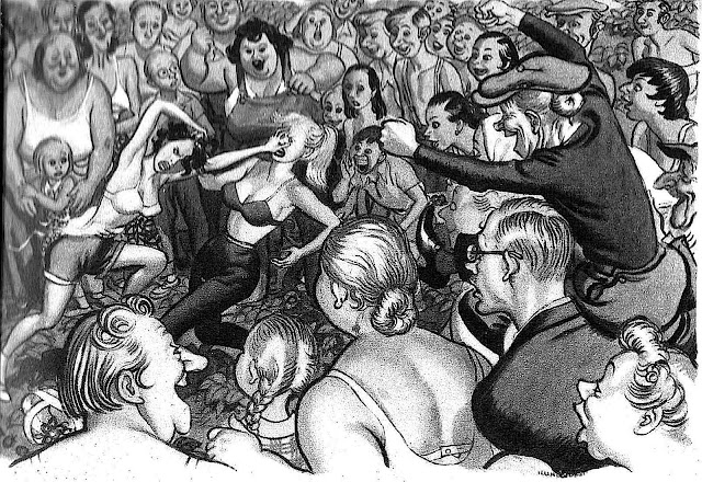 a 1958 Leslie Illingworth illustration of two women fighting in public while a crowd cheers