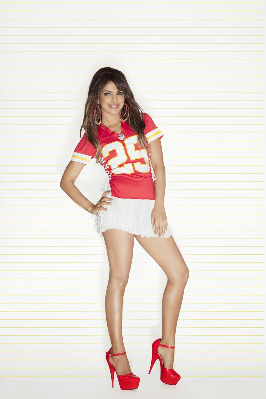 Priyanka Chopra in NFL Jersey & White Mini-skirt