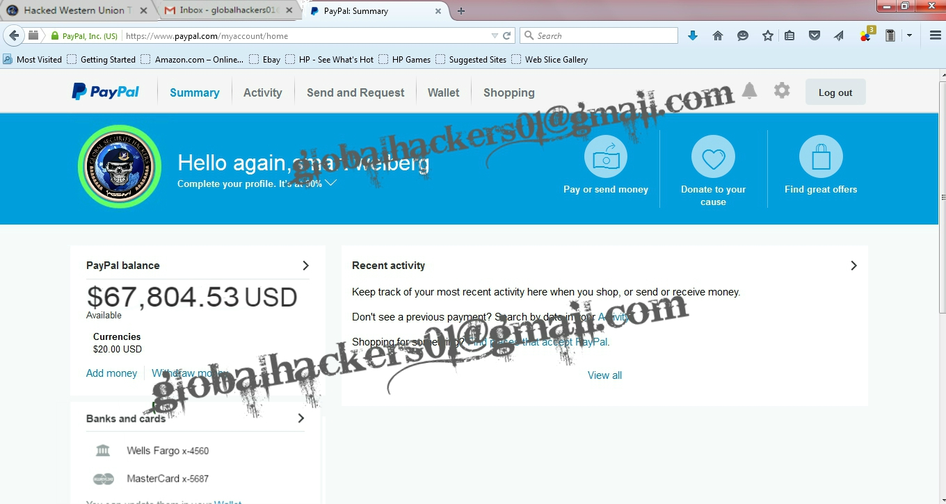 HACKED PAYPAL TRANSFER,WESTERNUNION TRANSFER,BANK TRANSFER/LOGINS ...