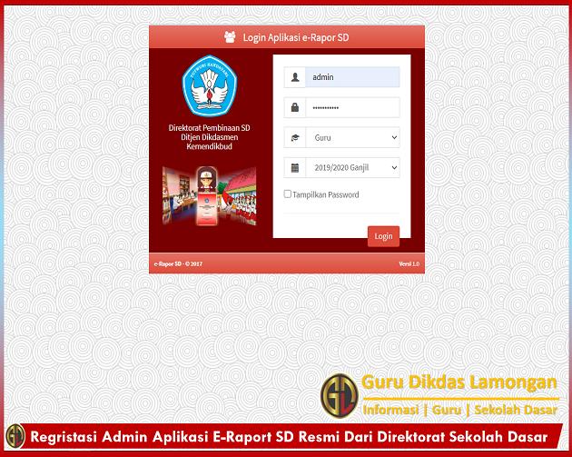 Regristasi Admin Aplikasi E-Raport SD Resmi Dari Direktorat Sekolah Dasar