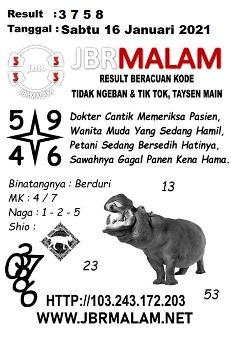JBR Malam HK Sabtu 16-Jan-2021