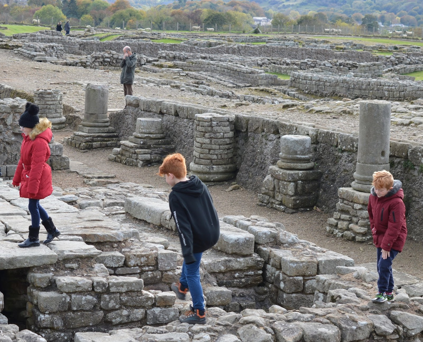 A lovely pub lunch & a trip to Corbridge Roman Town with kids  - kids exploring the fort