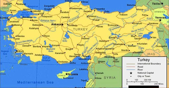 Gambar Peta Negara Turki terbaru