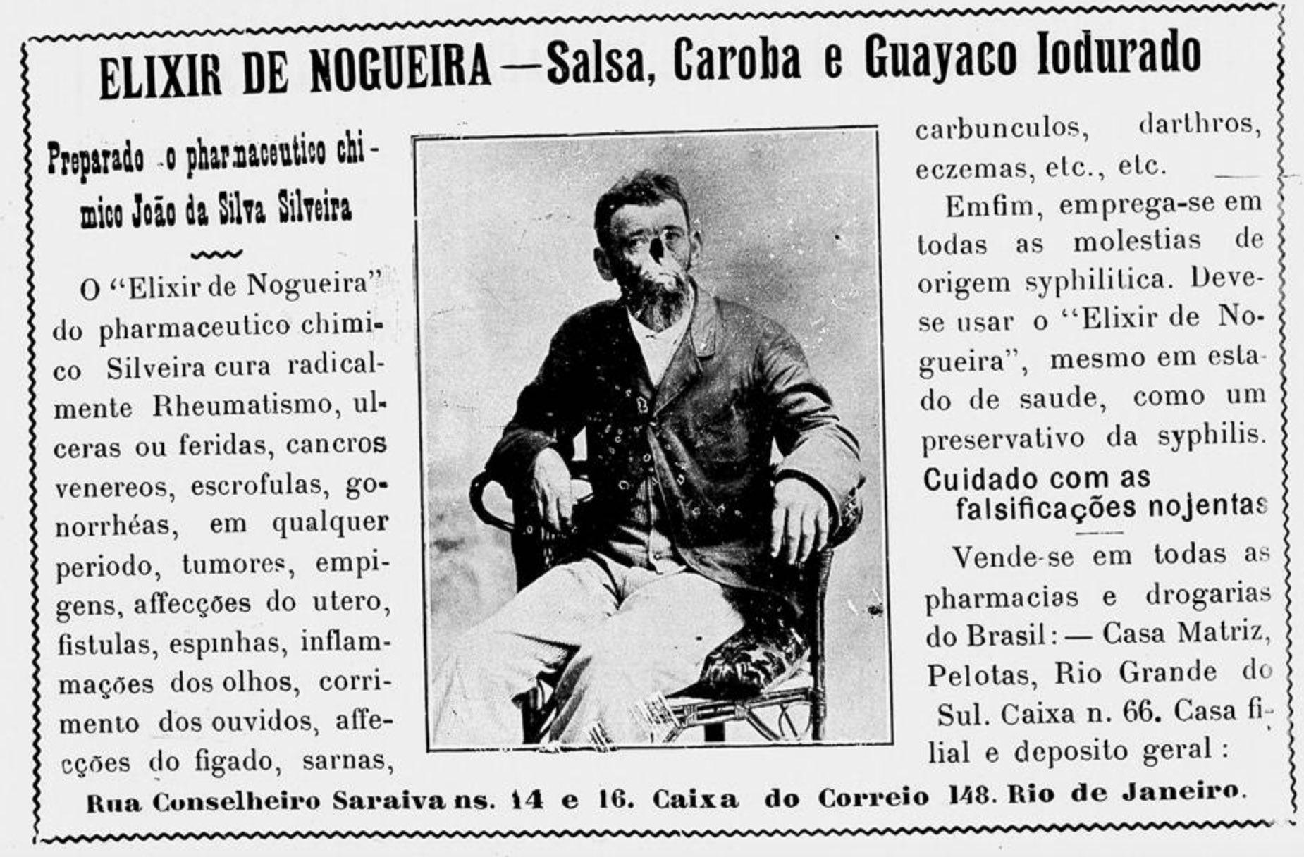 Anúncio de 1911 promovendo os benefícios do Elixir de Nogueira