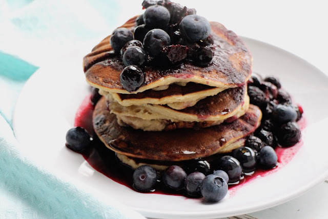 Vegan blueberry pancakes breakfast recipe