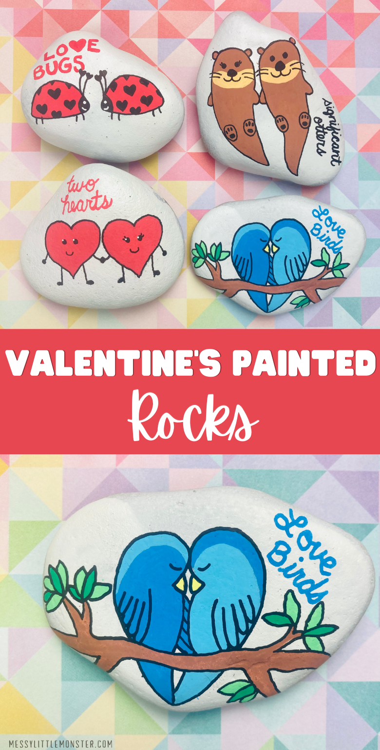 Valentine's day painted rocks. Rock painting ideas for kids..