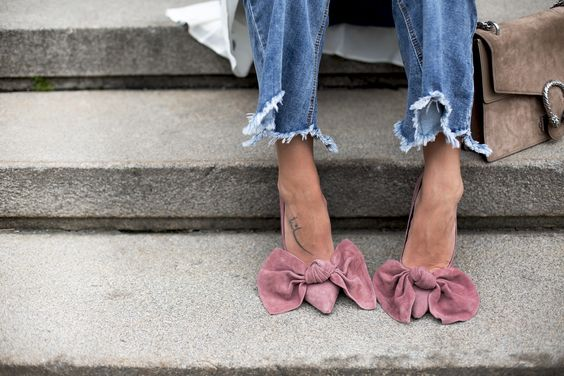 Destroyed Frayed Hem Jeans + Blush Pink Suede Bow Pumps