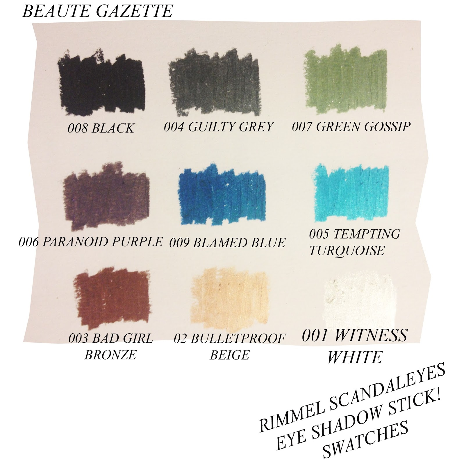 2ed90391979 Beauté Gazette: Rimmel SCANDALEYES Eye Shadow Sticks Collection Review