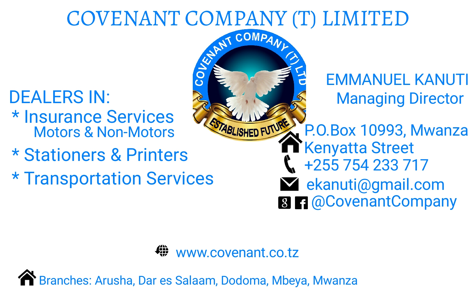 STATIONERS AND PRINTERS ~ Covenant Co  (T) Limited